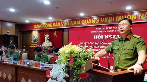 Đại tá Đinh Huy Hoàng, Trưởng CAQ Hai Bà Trưng chỉ đạo Hội nghị sơ kết 6 tháng đầu năm 2019.