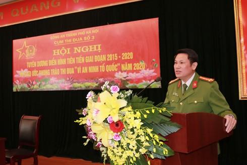 Đại tá Nguyễn Văn Viện, Phó Giám đốc Công an thành phố Hà Nội phát biểu chỉ đạo Hội nghị - Cụm thi đua số 3