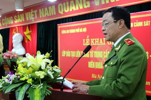Thiếu tướng, TS Đặng Xuân Khang, PGĐ Học viện CSND phát biểu tại lễ khai giảng