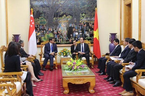 Toàn cảnh buổi tiếp Đại sứ đặc mệnh toàn quyền nước Cộng hòa Singapore tại Việt Nam