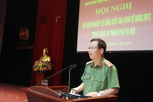 Đại tá Đoàn Ngọc Hùng, Phó Giám đốc CATP Hà Nội phát biểu khai hội nghị tập huấn