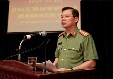 Đại tá Đào Thanh Hải, Phó Giám đốc CATP Hà Nội nhấn mạnh tầm quan trọng của hội nghị tập huấn