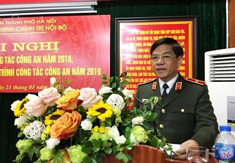 Thiếu tướng Đoàn Duy Khương, Giám đốc CATP Hà Nội phát biểu chỉ đạo hội nghị
