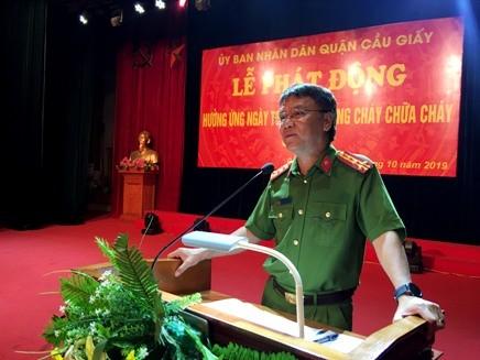 Đại tá Trần Ngọc Dương, Phó Giám đốc CATP Hà Nội bày tỏ cảm ơn sự quan tâm của Quận ủy, UBND quận Cầu Giấy tới lực lượng Cảnh sát PCCC thời gian qua