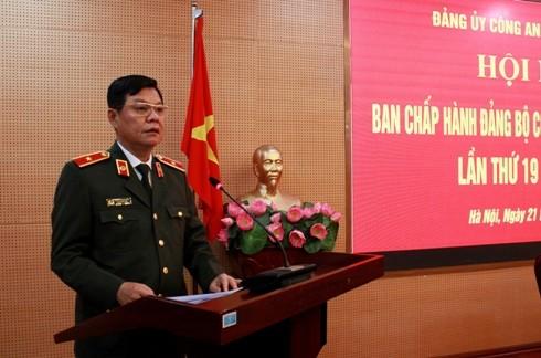Thiếu tướng Đào Thanh Hải, Phó Bí thư Đảng ủy, Phó Giám đốc Công an thành phố đã trình bày báo cáo tóm tắt công tác xây dựng Đảng năm 2019 và chương trình công tác năm 2020