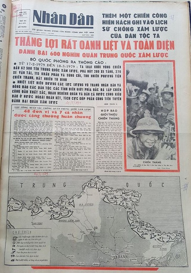 Trang nhất Báo Nhân dân số ra ngày 20-3-1979 đưa tin về cuộc chiến đấu bảo vệ biên giới phía Bắc của Tổ quốc