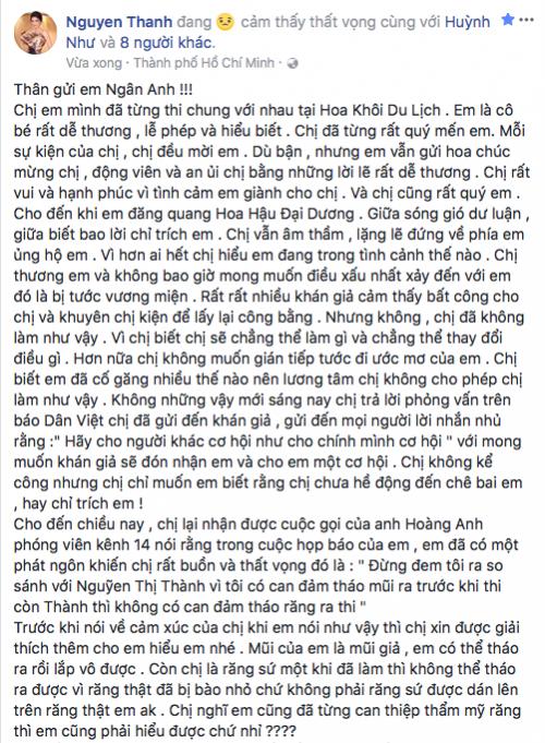 """Bị lôi ra làm """"ví dụ xấu"""" Nguyễn Thị Thành bày tỏ thất vọng với Tân Hoa hậu Đại dương"""