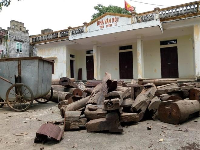 """Các cấu kiện gỗ đang được """"bảo quản"""" tại Nhà văn hóa xã (ảnh Quang Tấn)"""