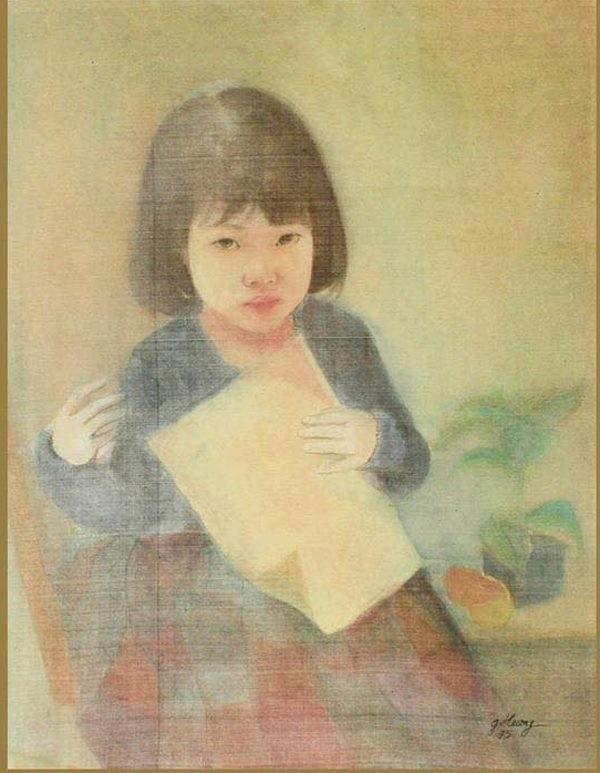 Bức tranh lụa được cho là đã nhái chữ ký của cố họa sỹ Vũ Giáng Hương