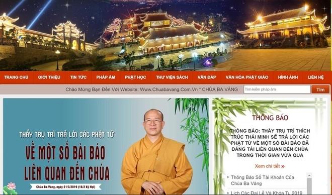 Hình ảnh website chùa Ba Vàng- hiện đã bị đóng