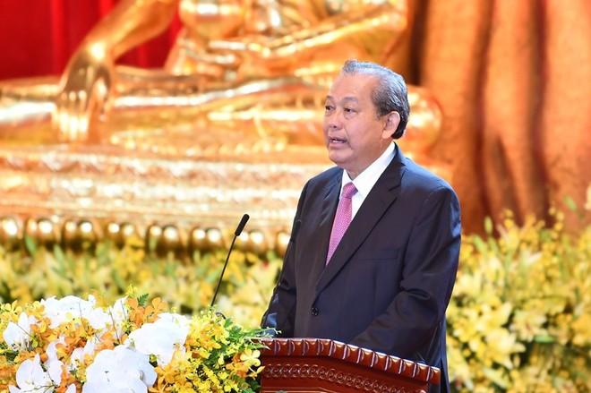 Phó Thủ tướng Thường trực Chính Phủ Trương Hòa Bình phát biểu tại Lễ bế mạc Đại lễ Phật đản 2019 (Ảnh: Ngộ Dũng)