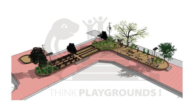 Sân tập thể Tân Mai được cải tạo thành không gian công cộng