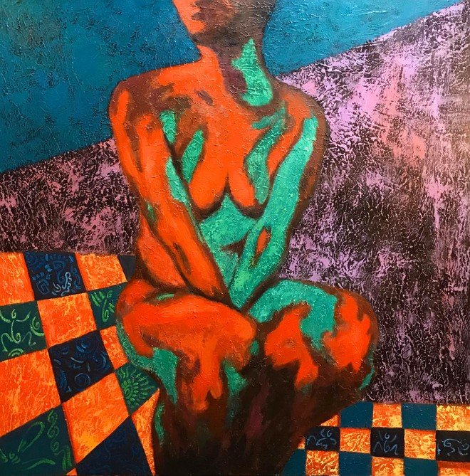 """Phụ nữ trong tranh của Nguyễn Minh Hiếu rất đầy đặn, thậm chí """"mỡ màng"""""""
