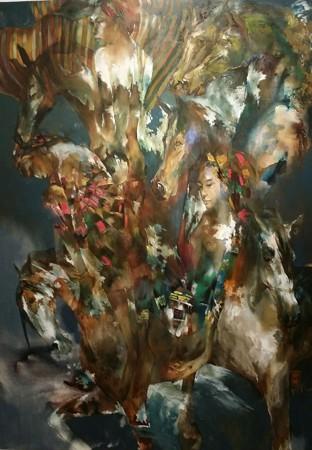 """Tác phẩm """"Bóng đêm và ngựa hoang"""" của họa sỹ Hứa Thanh Bình"""