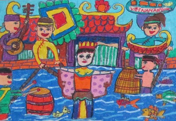 """Tác phẩm """"Em yêu nghệ thuật múa rối nước Việt Nam"""" của em Đặng Phương Thảo"""