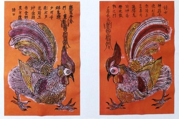 """Bức tranh dân gian của dòng tranh Kim Hoàng mang tên """"Thần kê"""" (gà trống)"""