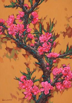 Sắc thắm hoa đào trong tác phẩm của họa sỹ Còm