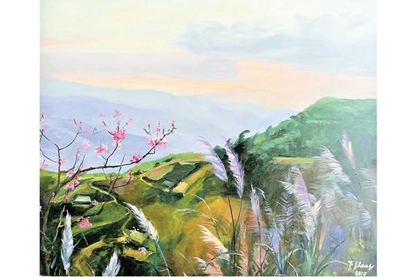 NSND Trà Giang vẽ tranh về nơi bà từng đóng phim