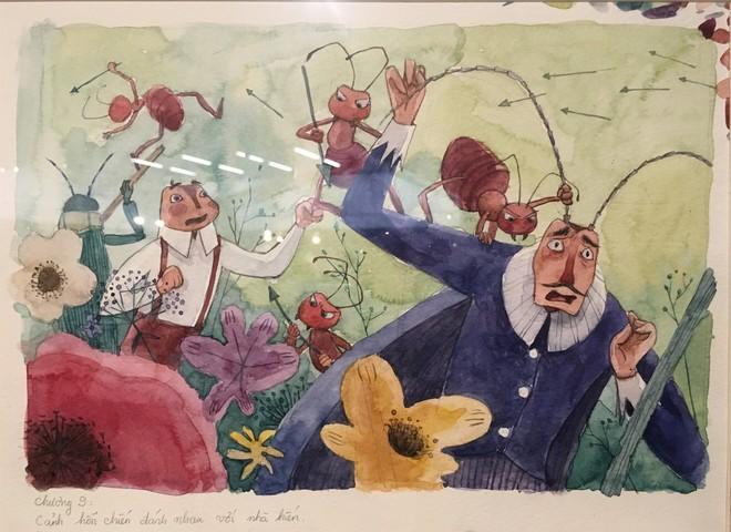 Cảnh hỗn chiến đánh nhau với nhà kiến, tác phẩm của họa sỹ Đậu Thị Ngọc Vinh