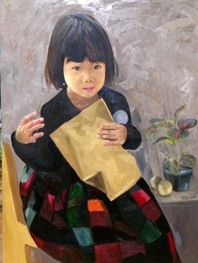 Bức tranh sơn dầu của họa sỹ Nguyễn Đông được vẽ từ tháng 1-2018, chân dung một em bé người Hà Nội