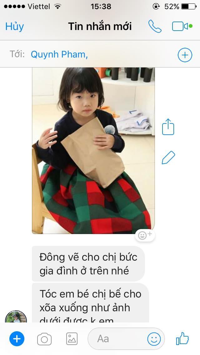 Tin nhắn họa sỹ Nguyễn Đông còn lưu về yêu cầu vẽ bức tranh chân dung con gái của khách hàng
