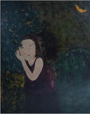 """Tác phẩm """"Thiếu nữ & trăng"""" của họa sỹ Vũ Tuấn Dũng."""