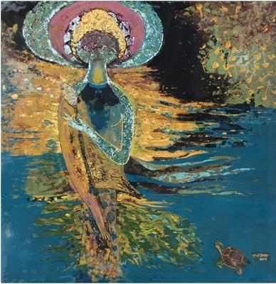 """Tác phẩm """"Vũ trụ xanh"""" của họa sĩ Phan Xuân Hùng."""