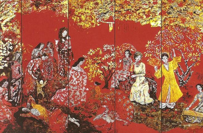 Nét đẹp uyển nhã, huyền ảo của nghệ thuật sơn mài Nguyễn Gia Trí đã bị hư hại sau quá trình làm vệ sinh bề mặt tranh