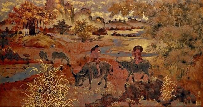 """Bức tranh sơn mài """"Mục đồng chăn trâu thổi sáo"""" của cố họa sỹ Phạm Hậu sẽ trở về quê hương sau thời gian chu du ở xứ người"""
