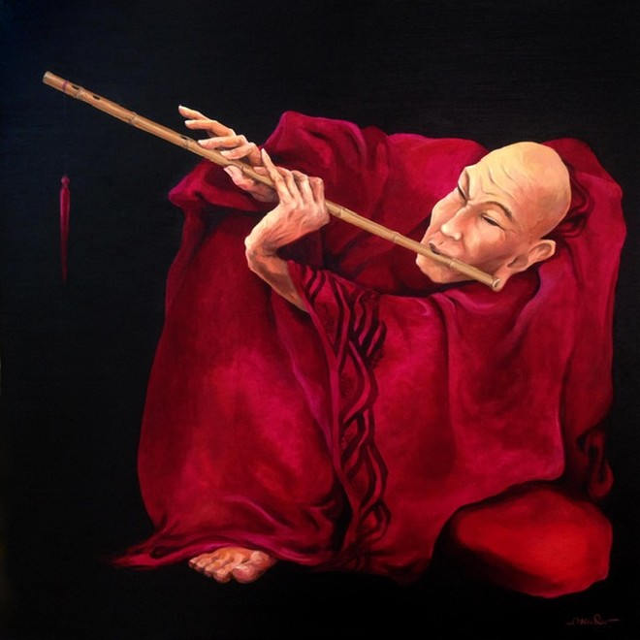 """Tác phẩm """"Sáo"""" của họa sỹ Nguyễn Tuấn"""