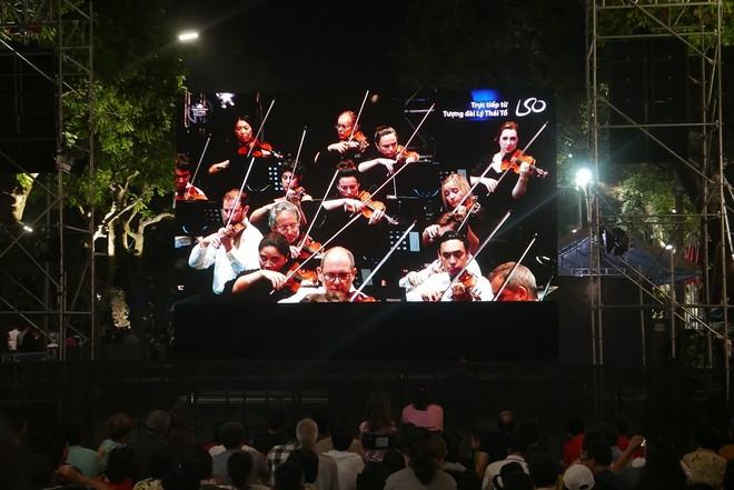 Màn hình chiếu trực tiếp đêm biểu diễn của dàn nhạc giao hưởng London
