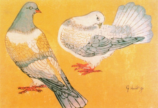 """Tác phẩm """"Đôi chim bồ câu"""" của họa sỹ Vũ Giáng Hương 1959. Khắc gỗ. 22x30cm"""