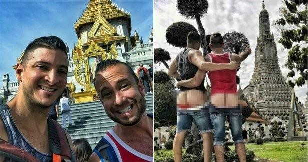 Hai du khách nước ngoài khoe mông tại ngôi đền thiêng của Thái Lan bị cảnh sát bắt giữ
