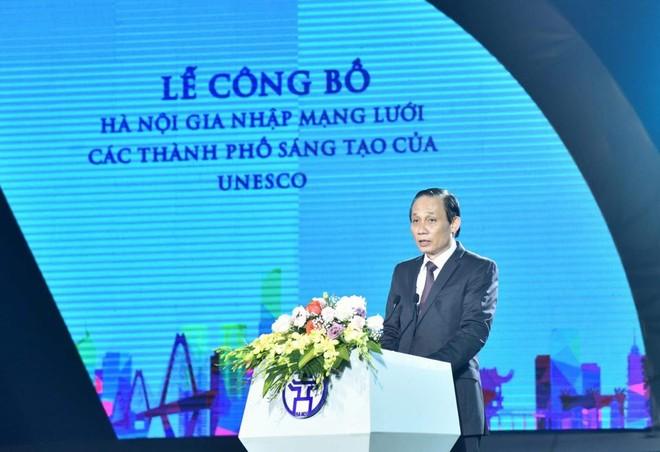 Thứ trưởng Bộ Ngoại giao Lê Hoài Trung phát biểu tại Lễ công bố Hà Nội gia nhập mạng lưới các TP sáng tạo