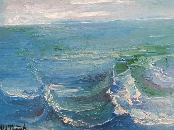 """Tác phẩm """"Những con sóng biển"""" của họa sĩ Văn Dương Thành"""