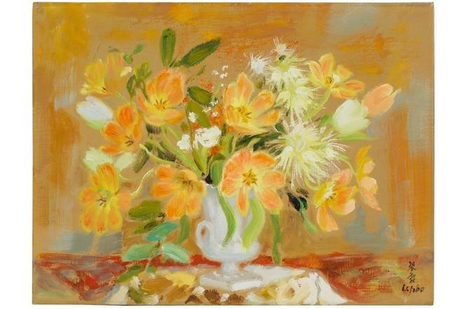 Bức tranh hoa của danh họa Lê Phổ có giá khởi điểm là 20 đến 30.000 Euro.