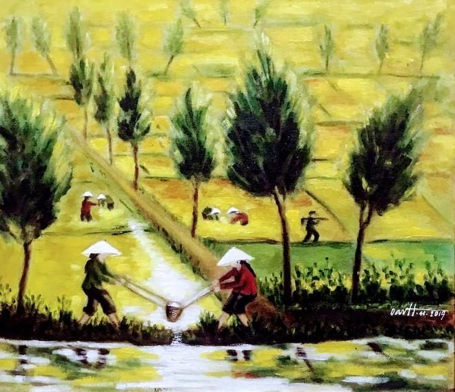 """Tác phẩm """"Tát nước vào ruộng"""" của Đỗ Ngọc Oanh"""