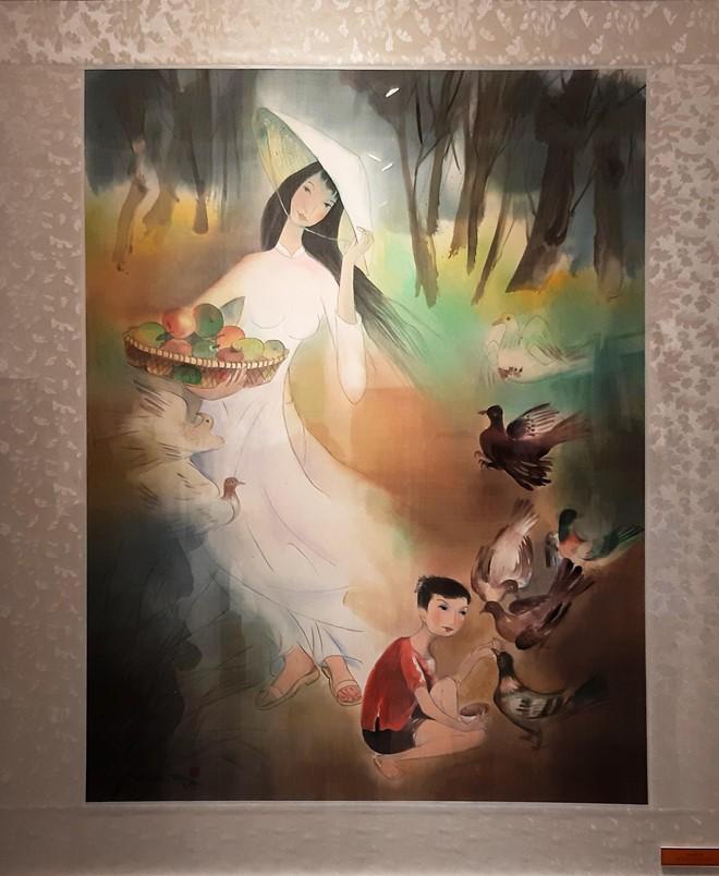 Thiếu nữ bên tà áo dài trong tranh Đặng Mậu Tựu