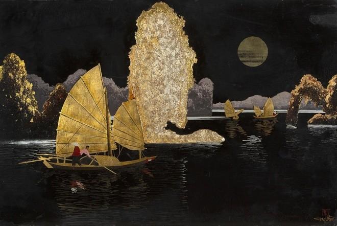 """Bức sơn mài """"Thuyền buồm dưới ánh trăng"""" mạo danh họa sĩ Nguyễn Thụ (chữ ký góc phải tranh). Nguồn ảnh: Aguttes."""