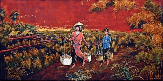 """Bức tranh """"Gánh hàng hoa"""" được rao bán trên sàn nhà đấu giá Lynda Trouve. Nguồn ảnh"""