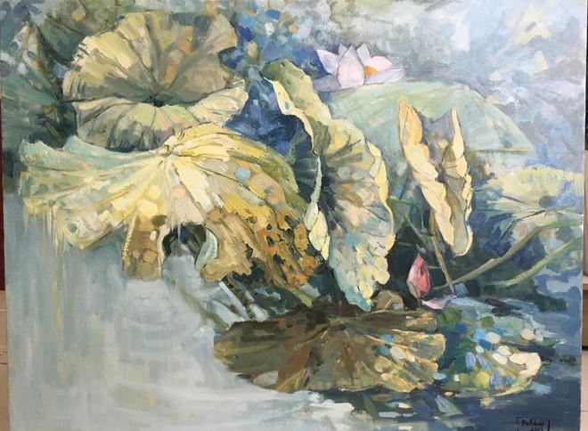 """Tác phẩm """"Hoa sen"""", chất liệu sơn dầu, kích thước 70x90 của họa sĩ Đỗ Khải sẽ góp mặt trong phiên đấu giá nghệ thuật"""