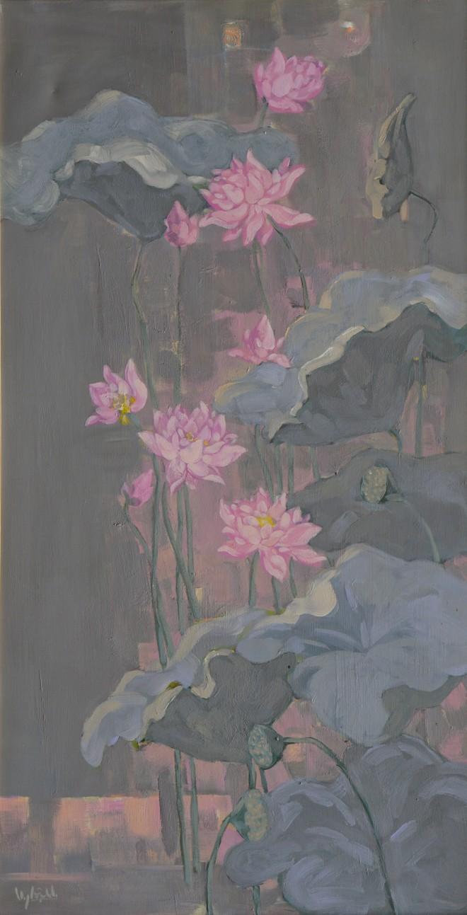 """Tác phẩm """"Sen hồng: Nhớ mùa sen năm ấy"""", chất liệu acrylic, kích thước 66x126 của họa sĩ Nguyễn Nghĩa Dậu"""