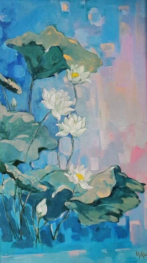 """Tác phẩm """"Sen trắng: Một ngày mới"""", chất liệu acrylic, kích thước 66x106 của họa sĩ Nguyễn Nghĩa Dậu"""