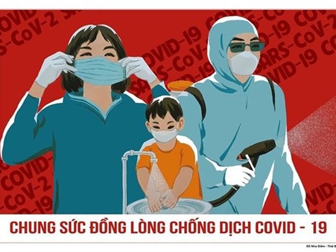 """Tác phẩm """"Chung sức đồng lòng chống COVID-19"""" của họa sĩ Đỗ Như Điềm"""