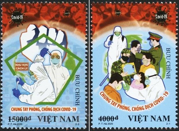 Bộ tem ''Chung tay Phòng, chống Dịch Covid-19''