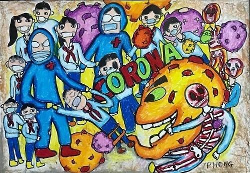 """Bức tranh """"Cuộc chiến chống Corona-Covid-19"""" của Nguyễn Đăng Tiền Phong, học lớp 6, trường THCS Trần Cao Vân – Huế. Nguồn: Facebook Hồ Đăng Thanh Ngọc."""