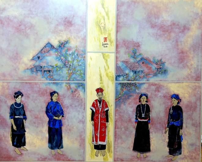 Một tác phẩm của họa sĩ Đỗ Đức tại triển lãm