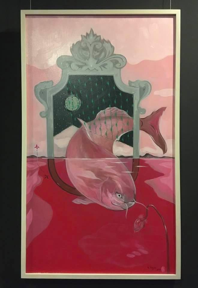 Một tác phẩm của nghệ sĩ tại Tuần lễ trưng bày các tác phẩm hội họa của Lê Nguyên Mạnh
