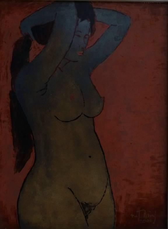 Tranh nude trên sơn mài của họa sĩ Nguyễn Thanh Bình