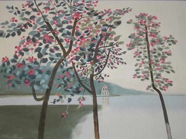 Một góc nhìn thơ mộng về Hồ Hoàn Kiếm của họa sĩ Trịnh Thái